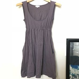 Brown Gray Sleeveless A-Line Casual Tank Dress